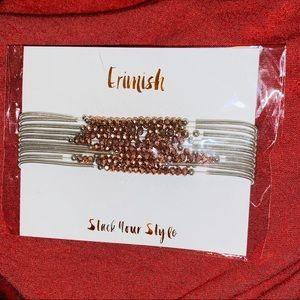 Silver and rose gold bracelet stack